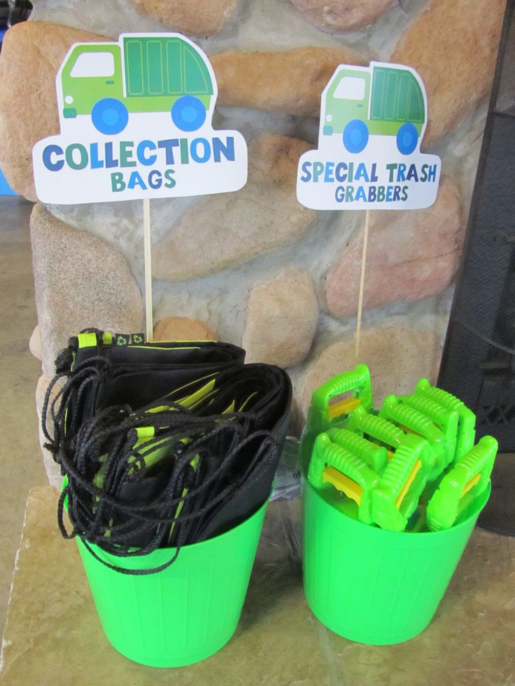 trash scavenger hunt supplies at my son's garbage truck birthday parties. waste management donated several items including these drawstring backpack style bags for the kids.
