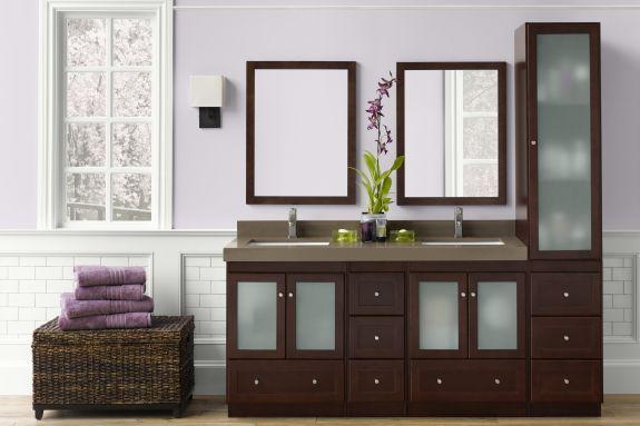99 best cabinets bathroom vanities images on pinterest - Bathroom vanity with frosted glass doors ...