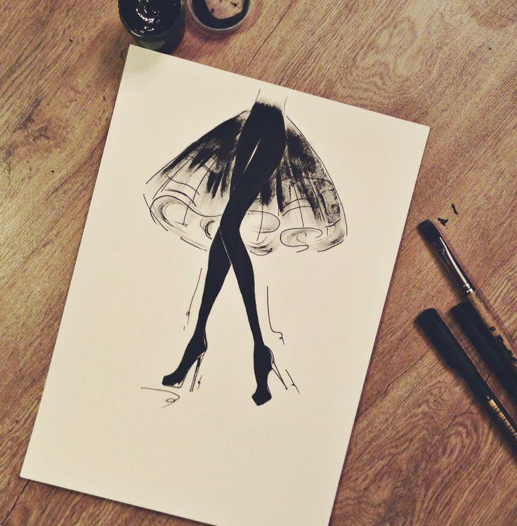 2014 рисунок гуашевыми красками и сухой кистью #гуашь #кисть #сухаякисть #графика #fashion