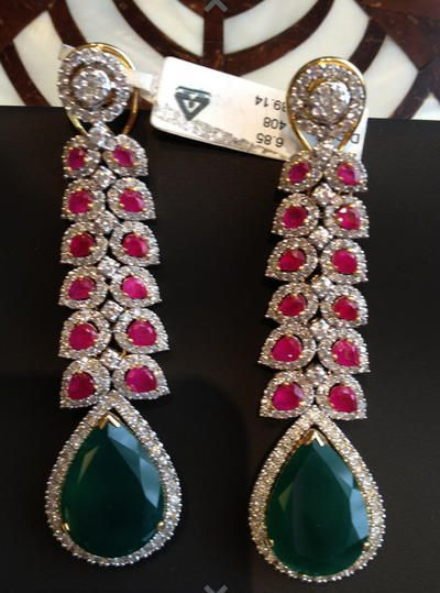 emerald and rubies, long earrings with drops, ,Sitara