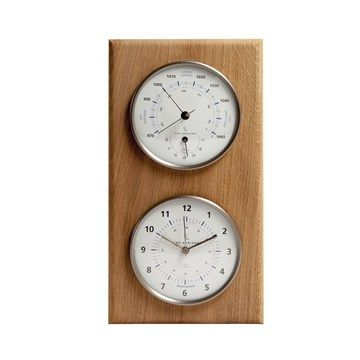 Baromètre thermomètre horloge - Préparez vos sorties dans la nature grâce à une météo précise  Une station de grande qualité, avec socle en chêne massif Indique la pression atmosphérique, la température et l'heure Parfait pour comprendre et anticiper les changements de temps