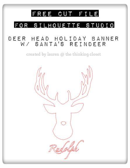 FREE Cut File for Silhouette Studio: Deer Head Holiday Banner featuring Santa's Reindeer.  Plus full tutorial!