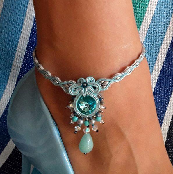 nice Bransoletka na nogę (bracelets soutache leg) 1