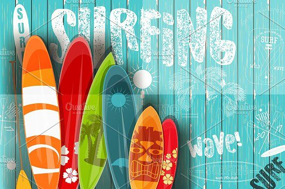 Surfing Retro Poster on Blue Wooden by elfivetrov on @creativemarket