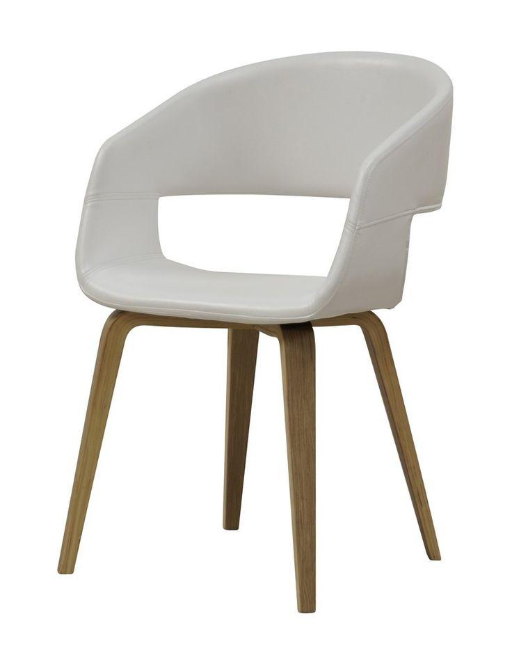SHM Design - Eetkamerstoel Nova PU Wit/Hout