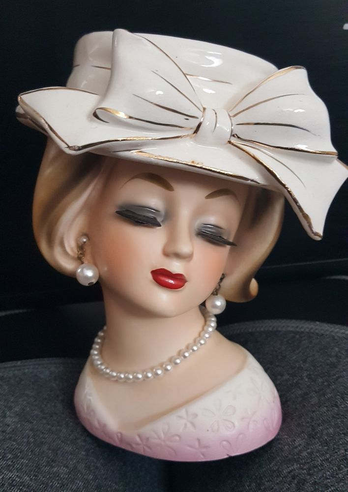 Vintage Lady Head Vase Enesco Hat Girl Big Bow Japan Foil Tag Pottery Glass Pottery China China Dinnerware Head Vase Ceramic Lady Heads Girl With Hat