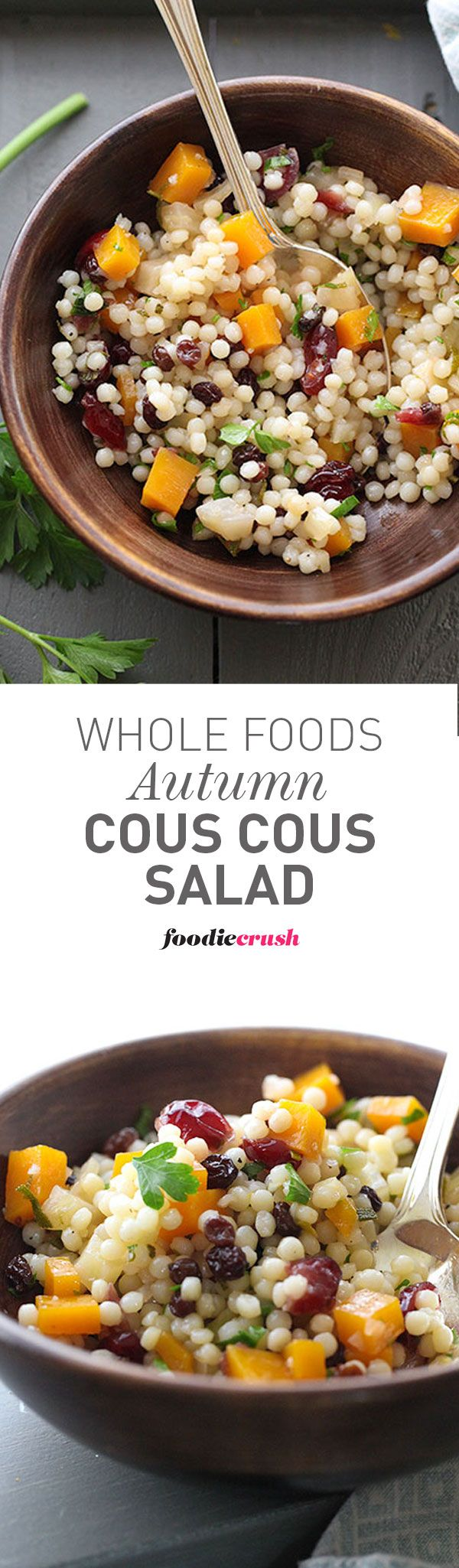 Say hello to butternut squash and fall flavors touched by a tart pucker in this easy Whole Foods Market-inspired Autumn Couscous Salad | http://foodiecrush.com