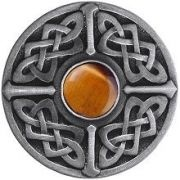 Notting Hill NHK-158-AP-TE, Celtic Jewel Knob in Antique Pewter/Tiger Eye Natural Stone, Jewel Collection