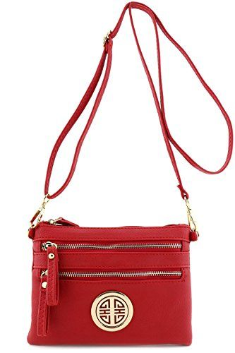New Trending Make Up Bags: Multi Zipper Pocket Small Wristlet Crossbody Bag with Emblem Red. Multi Zipper Pocket Small Wristlet Crossbody Bag with Emblem Red  Special Offer: $15.95  255 Reviews Multi Zipper Pocket Crossbody Bag, Total 3 zipper pockets at outside and 1 zipper pocket inside. It can be used as wristlet purse or crossbody bag.8″(L) x 5.75″(H) x...