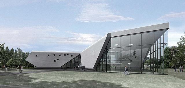 Budynek jest częścią Lotniczego Parku Kulturowego w krakowskich Czyżynach. Jego charakterystyczna bryła została zaprojektowana przez niemiecką pracownię Pysall.Ruge Architekten i Bartłomieja Kisielewskiego. Muzealny budynek składa się z trzech skrzydeł, wychodzących ze wspólnego rdzenia i układających w kształt wielkiego śmigła. Duże przeszklenia oraz rozbicie potężnej skali budynku nadały mu lekkości oraz pomogły uniknąć wrażenia monotonnego hangaru.