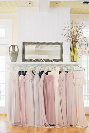 Mismatched neutral bridesmaids dresses at elegant Watercolor, Florida beach destination wedding Photos by: goodegreen.com