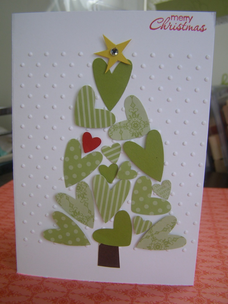 <3 christmas tree - stampin' up! hearts punch