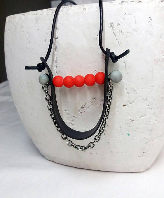 recycled inner tube necklace rubber pendant black squiggle