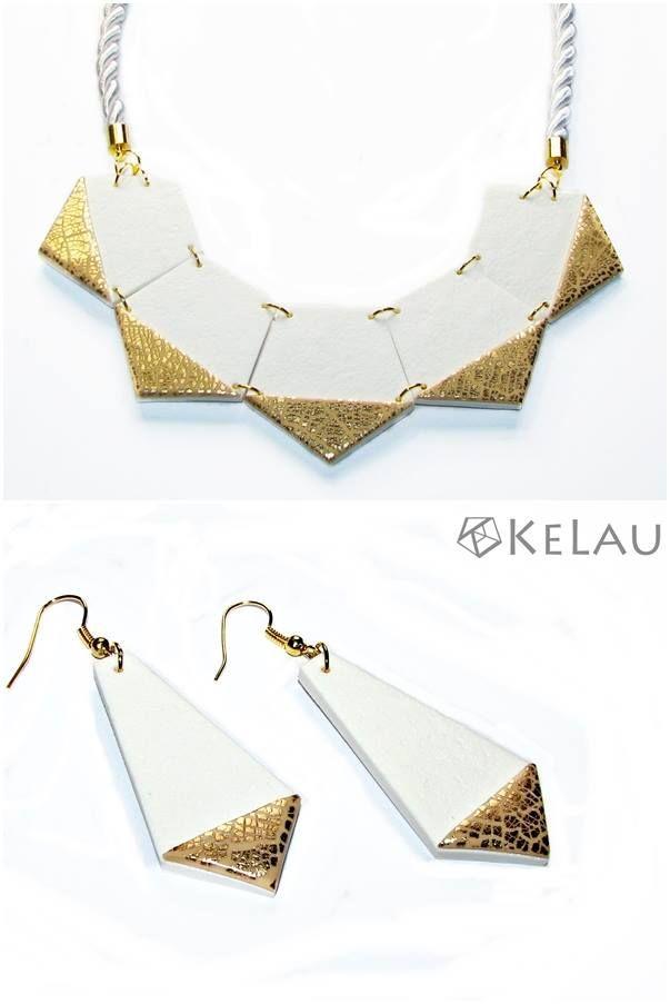 KeLau jewellry earring✔   #kelau #kelaujewellry #polymerclayjewellry #white #gold #earring