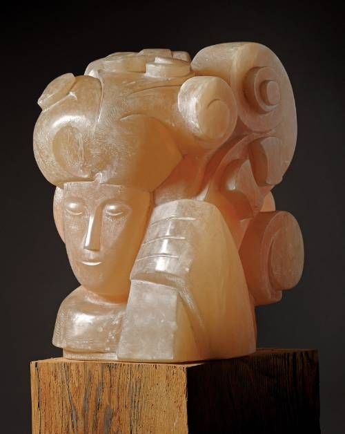 'Girl with Cello' George Kennethson, 1960. Carved from Alabaster.