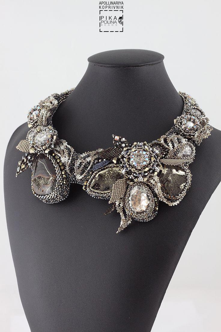 Beaded necklace Secret garden II with Swarovski crystals, semi precious stones…