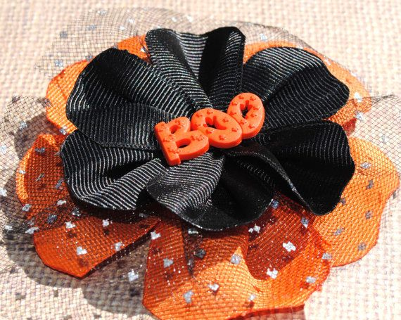 "Halloween Ribbon Sculpture Flower Hair Clip with ""BOO"" Button Center and Sparkly Tulle -- Black and Orange"