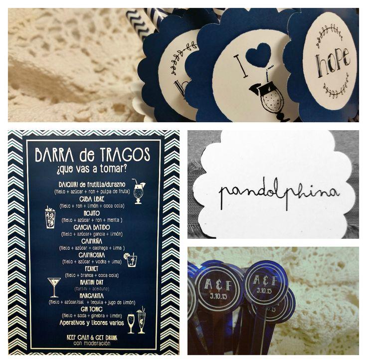 Diseño de Cartel de Tragos + Revolvedores + Sorbetes personalizados. Consultas: pandolphina@gmail.com
