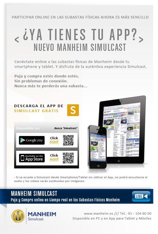 App para seguir y participar online, en las subastas físicas de Manheim España, compitiendo con las pujas de los asistentes físicos en tiempo real