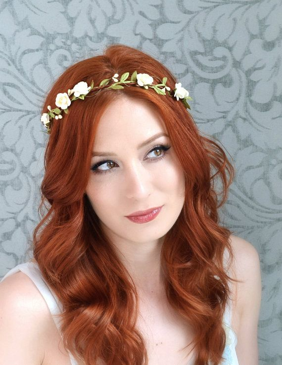 Floral crown, boho bridal headpiece, ivory flower crown, woodland hair wreath, rustic wedding hair accessories by Gardens of Whimsy on Etsy