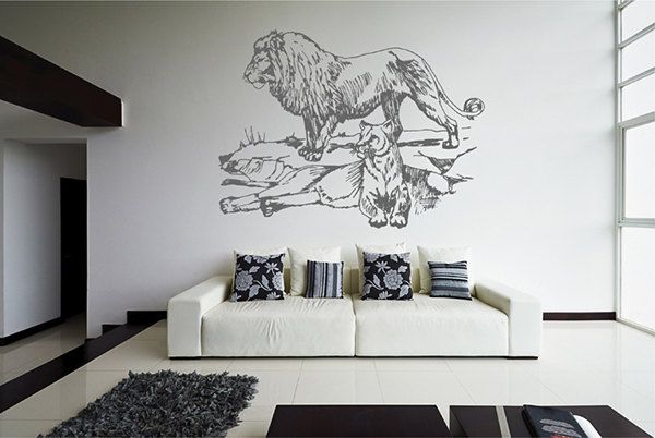 kik2442 Wall Decal Sticker Pride Lioness big cats rocks animal living room bedroom