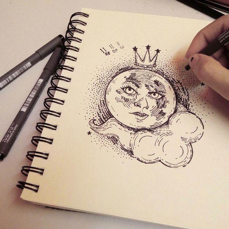 Tattoo Design. Moon and Stars. Illustration by Vanesa Izquierdo