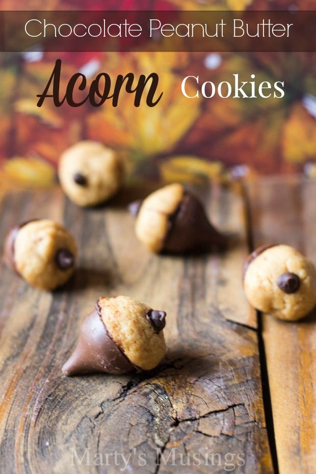 Welcome fall with these easy, kid friendly treats! Chocolate Peanut Butter Acorn Cookies - Marty's Musings