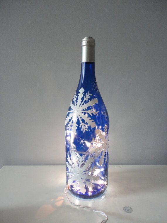 Snowflake Winter Wine Bottle Light Hand Painted By