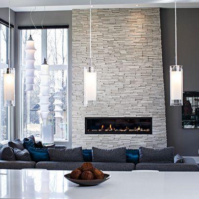 white stone fireplace grey walls - Google Search