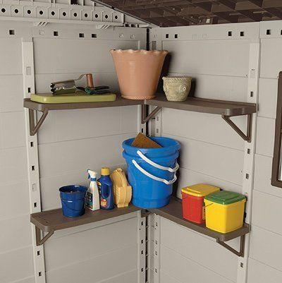Suncast ACS24 Corner Shelf for Storage Build - Pack of 1 by Suncast. $74.46. Manufactured to the Highest Quality Available.. Design is stylish and innovative. Satisfaction Ensured.. Great Gift Idea.. Make that Suncast storage shed even more functional with this 2-tiered corner shelf unit. Thanks to a sturdy L-shaped corner design each shelf holds up to forty evenly-distributed pounds of potting soil grass seed paint cans and more. Shelves are 7 inches wide and 32...
