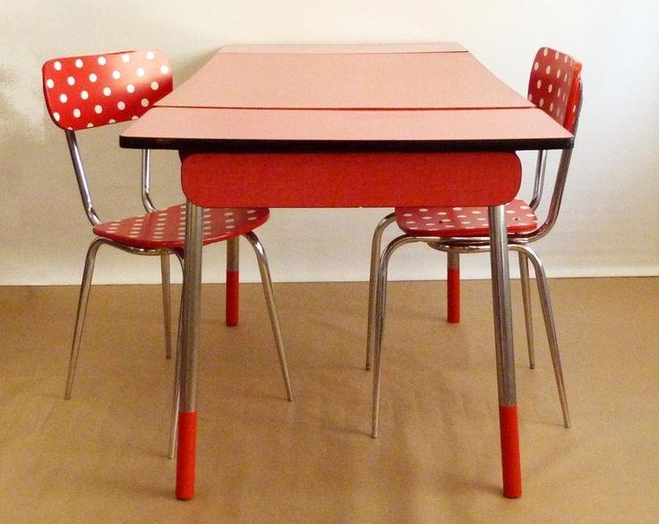 Interesting Table Vintage Formica Rouge Meubles Et Rangements Par  Archiretro With Buffet Cuisine Formica With Table Cuisine Vintage