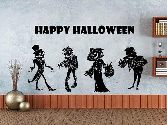 Wall Decals Happy Halloween Zombie Decal Vinyl Sticker Home Art Bedroom  Home Decor Art Mutal Room