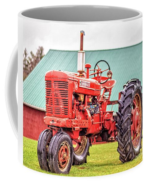 Vermont Coffee Mug featuring the photograph Old Red Farmall Vintage Tractor Stowe Vermont by Edward Fielding