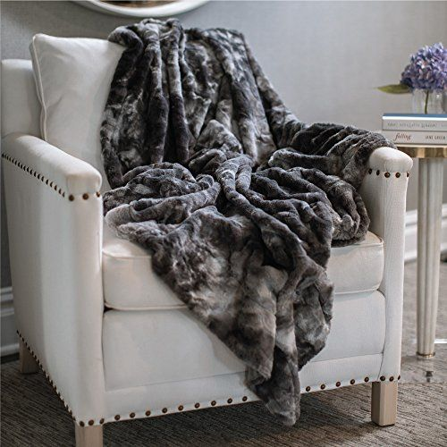 """The Original CONNECTICUT HOME COMPANY Luxury Throw Blanket, Faux Fur Pattern, Extra Soft, Large Size, Machine Washable, Beautiful Design, 65"""" x 50"""" (Gray) - Are you tired of scratchy and thin throw blankets that hardly keep you warm? Our soft and luxurious throw blanket will help to keep you cozy at any time of day. Plus, this blanket will help add beautiful designer style to your home decor. Here are some questions our customers want to know:What ma..."""
