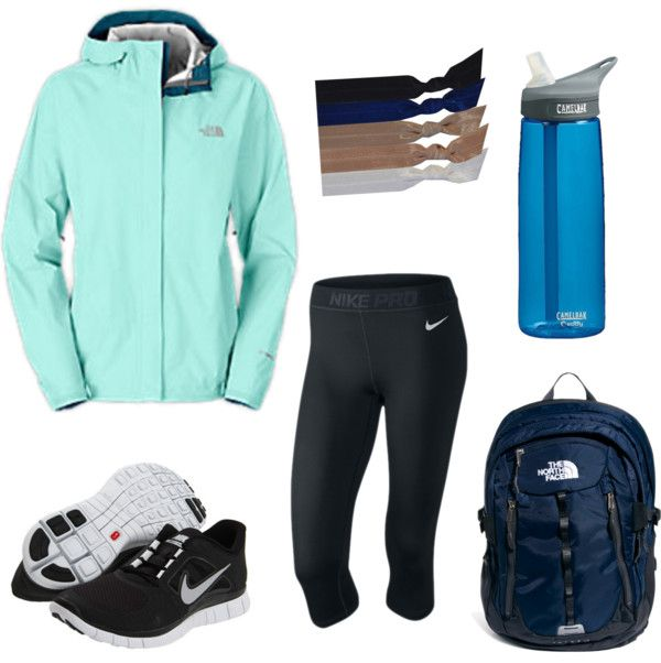 Hiking Day por halleygortman con the north face ❤ liked on PolyvoreThe North Face / Emi-Jay pearl hair accessory / The North Face Surge II Backpack / Nike Pro Hypercool | Nike Shoes, Sportswear Clothing Sport Equipment, $65 / Nike Free Run+ 3 / CamelBak BPA Free eddy Water Bottle .75L Navy