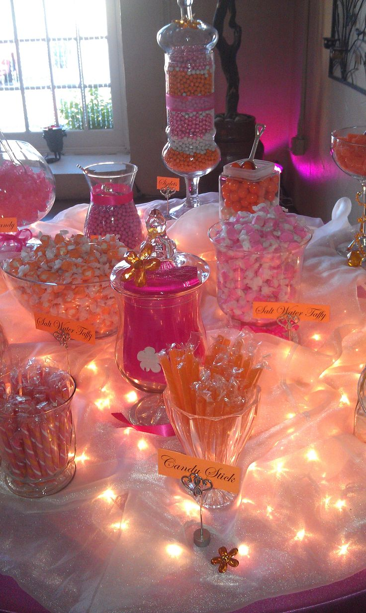 pink and orange candy station