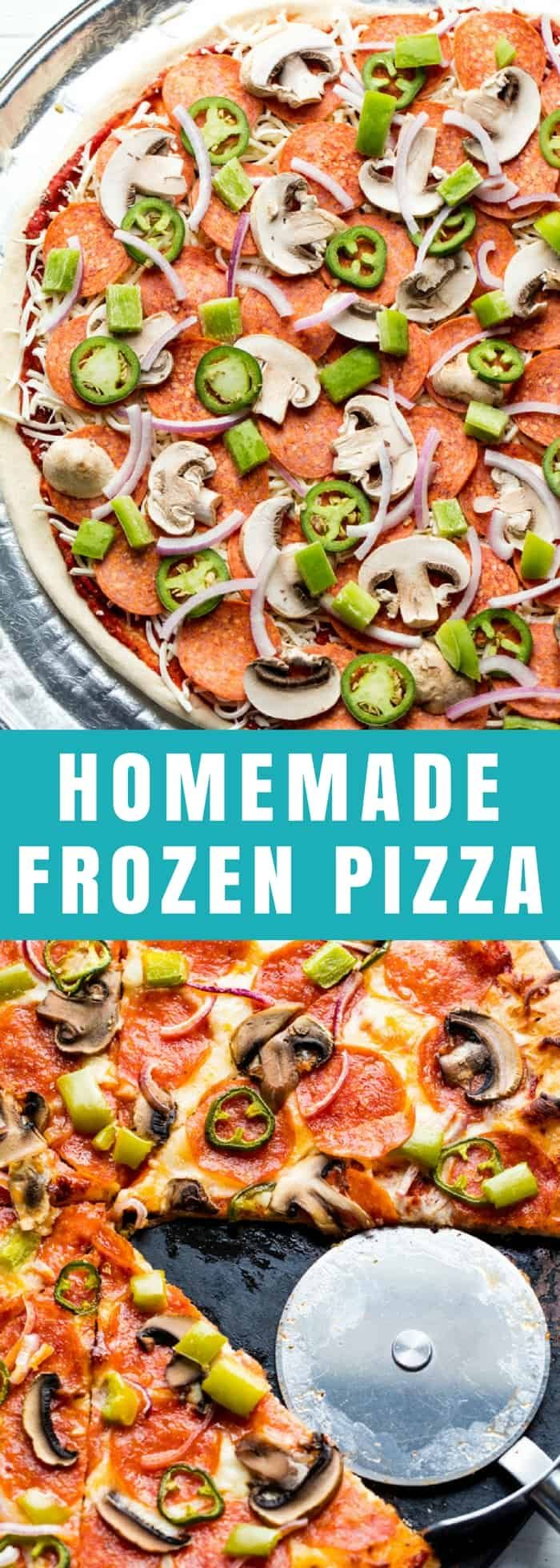 Homemade Frozen Pizzas are easy to make. Stock up your freezer with a quick meal full of homemade goodness. It's better than take-out! #pizza #freezermeal
