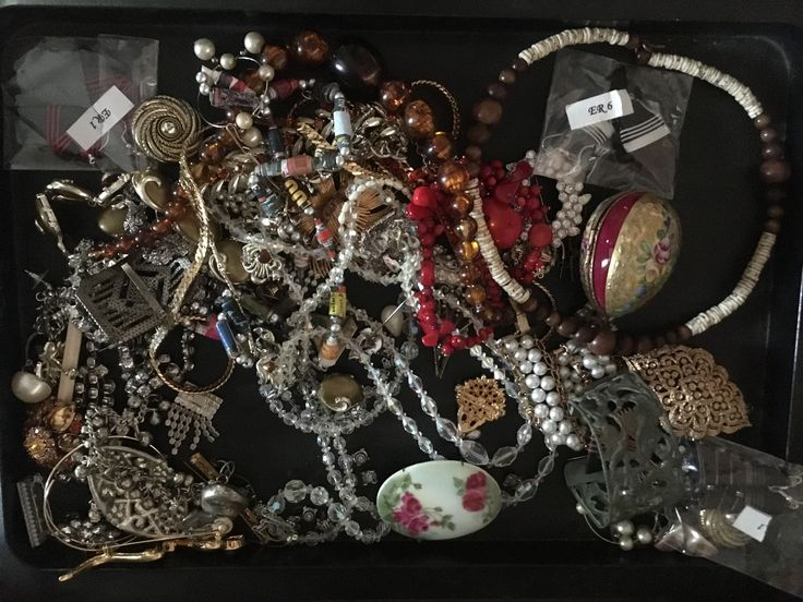 Lot of jewelry, Dominion Auctions $50.  Note Limoges trinket box on the right.