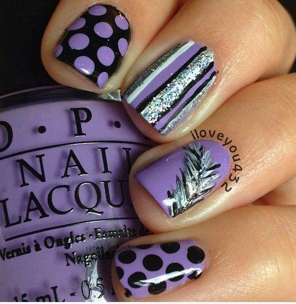 Purple nails, dots, stripes, feather