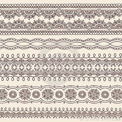 Elementos do projeto da beira do vetor do Doodle de Mehndi do Henna