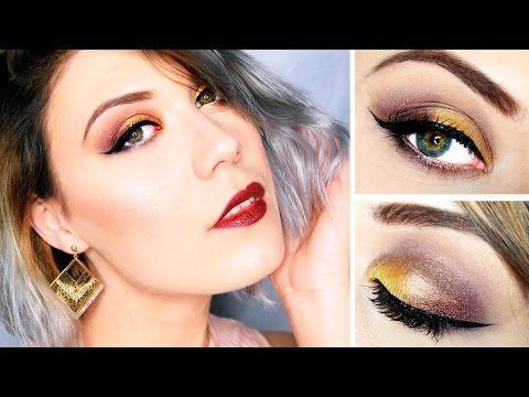 Maquillage jaune et prune de soiree