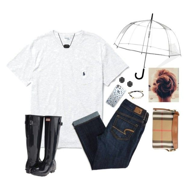 """""""rainy/cloudy day"""" by smaryb ❤ liked on Polyvore featuring ShedRain, Ralph Lauren, American Eagle Outfitters, Kendra Scott, Casetify, Hunter, TOUS and Burberry"""