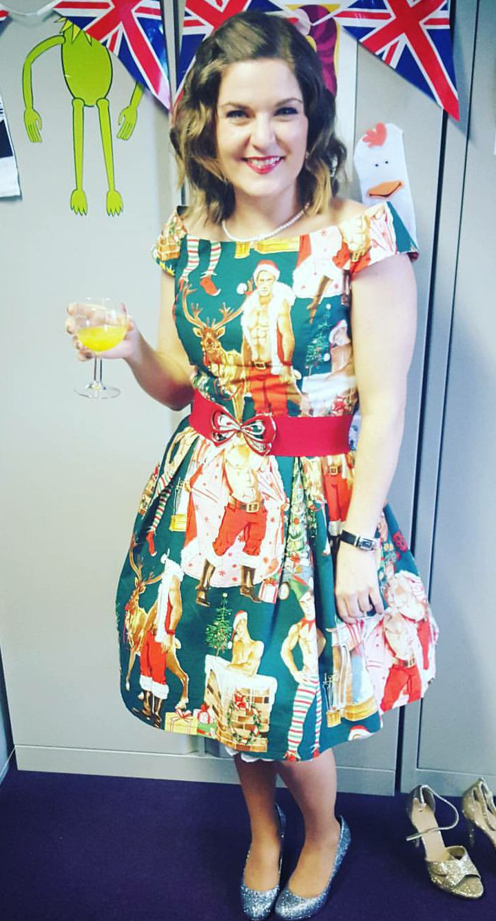 A better photo of my Simplicity 1418 Christmas dress