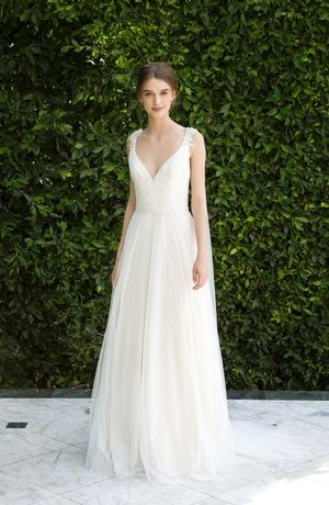 V-Neck Sheath Wedding Dress  with Natural Waist in Chiffon. Bridal Gown Style Number:33365040