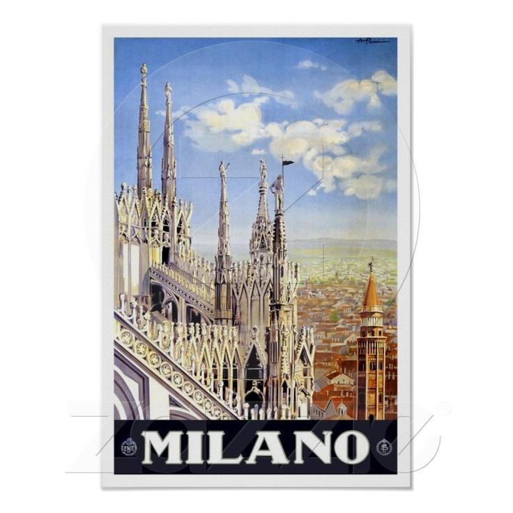 Milano Italy Travel Poster at Zazzle.ca