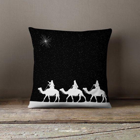 Almohadas de vacaciones | Cojines de Navidad | Decoración festiva | Adornos de Navidad - Tres Reyes Magos cubierta del amortiguador   ¡