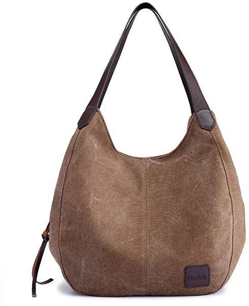 e9b8913321248d Gindoly Damen Canvas Handtasche Klein Vintage Shopper Schultertasche  Henkeltasche Hobo Tasche Beuteltasche (Braun):