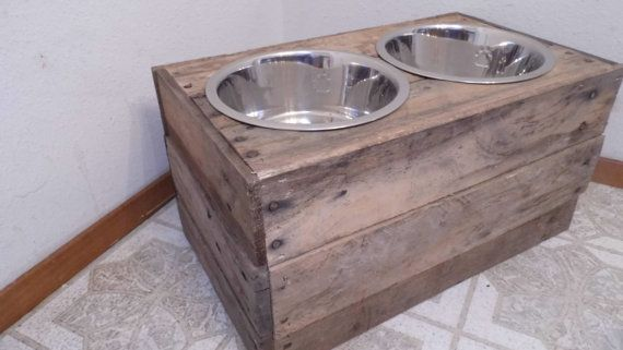 This listing is for a Large custom built dog food bowl stand. It is hand made to order, made of 100% reclaimed and recycled pallet wood. Comes with 2