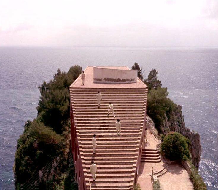Photomontage of stills from the movie Le Mepris (1963) by Jean-Luc Godard. The building shot is Casa Malaparte (1938-1943) by Adalberto Libera for Curzio Malaparte (Kurt Sucker), located in Punta Masullo, Capri (Photomontage by Daniele Mancini)