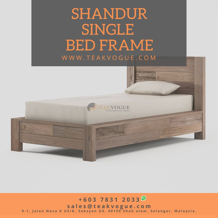 Shandur Single Size Bed Teak Wood Bed Frames Malaysia In 2020 Single Size Bed Bed Frame Bed Frame Sizes